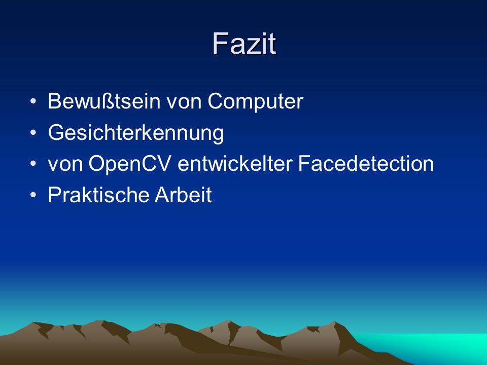 Fazit Bewußtsein von Computer Gesichterkennung von OpenCV entwickelter Facedetection Praktische Arbeit