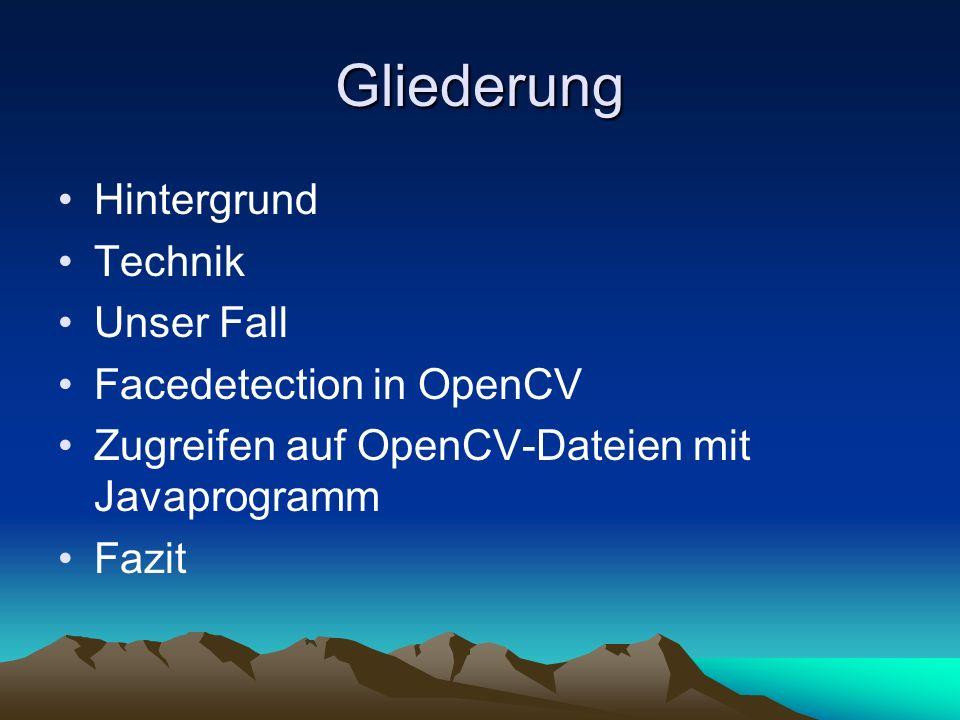 Gliederung Hintergrund Technik Unser Fall Facedetection in OpenCV Zugreifen auf OpenCV-Dateien mit Javaprogramm Fazit