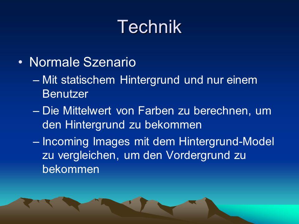Technik Normale Szenario –Mit statischem Hintergrund und nur einem Benutzer –Die Mittelwert von Farben zu berechnen, um den Hintergrund zu bekommen –Incoming Images mit dem Hintergrund-Model zu vergleichen, um den Vordergrund zu bekommen