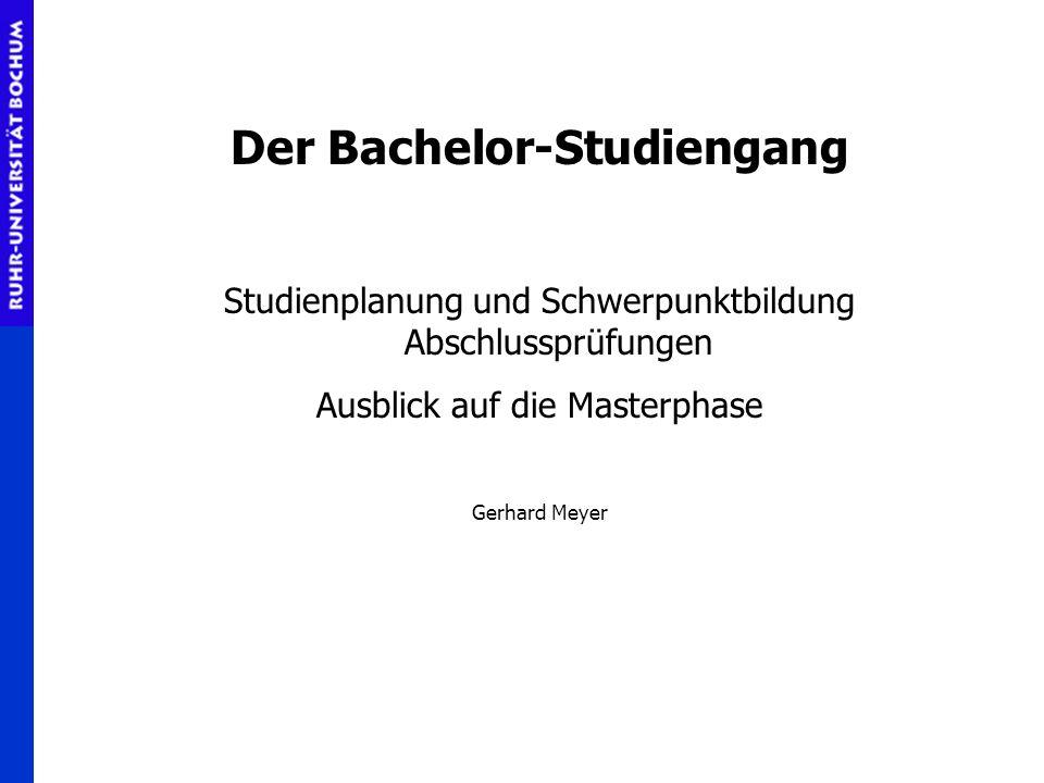 Der Bachelor-Studiengang Studienplanung und Schwerpunktbildung Abschlussprüfungen Ausblick auf die Masterphase Gerhard Meyer