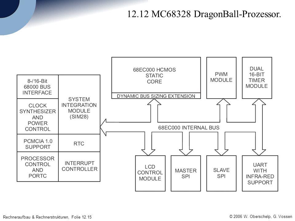 © 2006 W. Oberschelp, G. Vossen Rechneraufbau & Rechnerstrukturen, Folie 12.15 12.12 MC68328 DragonBall-Prozessor.
