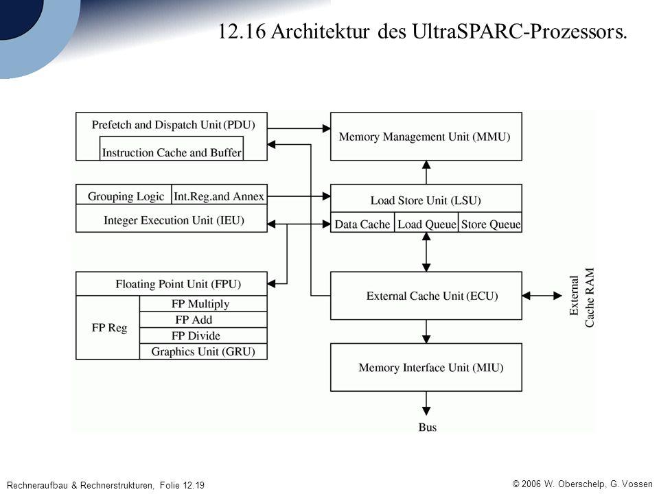 © 2006 W. Oberschelp, G. Vossen Rechneraufbau & Rechnerstrukturen, Folie 12.19 12.16 Architektur des UltraSPARC-Prozessors.