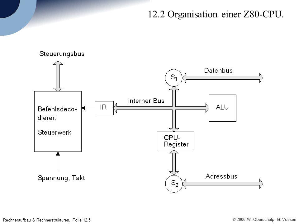 © 2006 W. Oberschelp, G. Vossen Rechneraufbau & Rechnerstrukturen, Folie 12.5 12.2 Organisation einer Z80-CPU.
