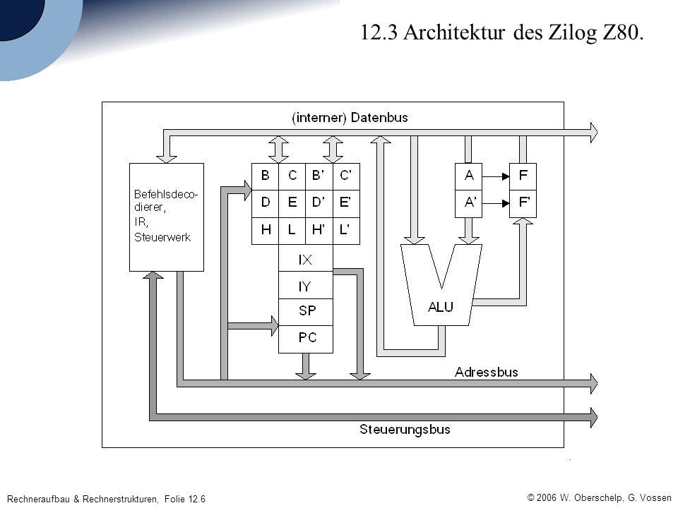 © 2006 W. Oberschelp, G. Vossen Rechneraufbau & Rechnerstrukturen, Folie 12.6 12.3 Architektur des Zilog Z80.