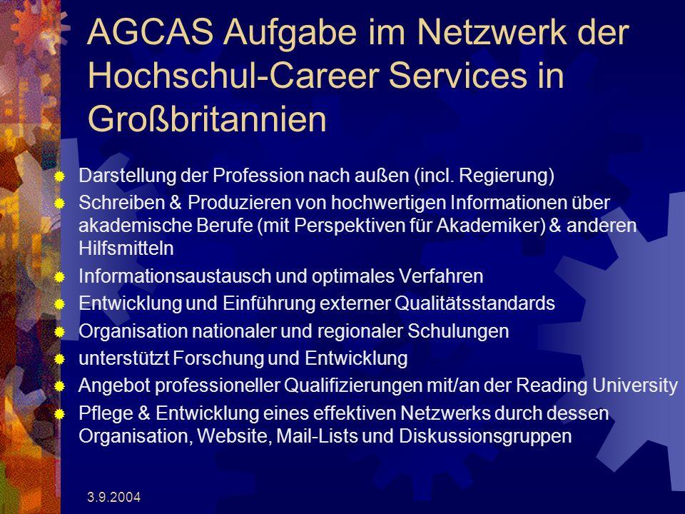 3.9.2004 AGCAS Aufgabe im Netzwerk der Hochschul-Career Services in Großbritannien Darstellung der Profession nach außen (incl.