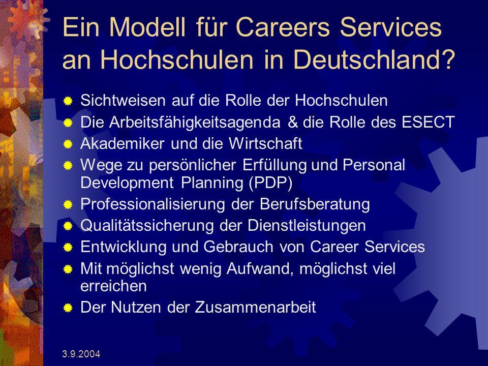3.9.2004 Ein Modell für Careers Services an Hochschulen in Deutschland.