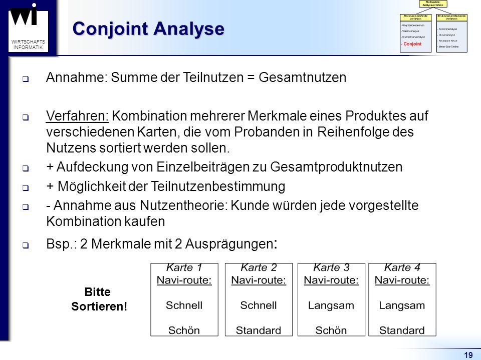 19 WIRTSCHAFTS INFORMATIK Conjoint Analyse Annahme: Summe der Teilnutzen = Gesamtnutzen Verfahren: Kombination mehrerer Merkmale eines Produktes auf v