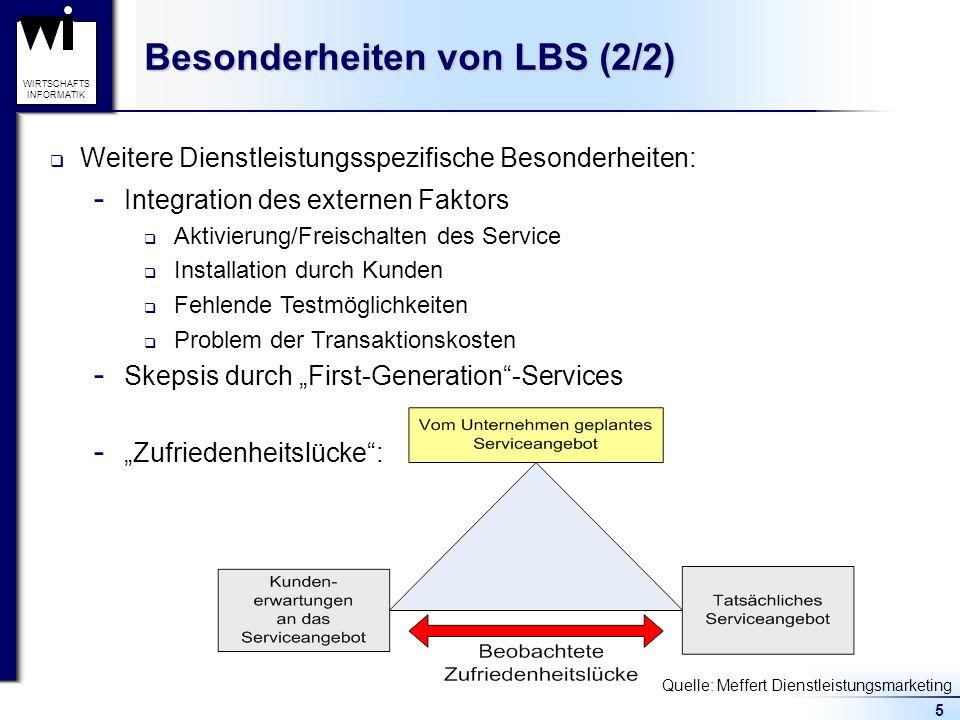 5 WIRTSCHAFTS INFORMATIK Besonderheiten von LBS (2/2)  Integration des externen Faktors Aktivierung/Freischalten des Service Installation durch Kunde