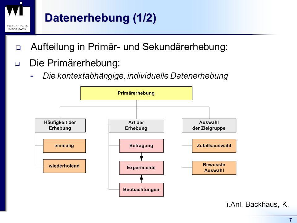 7 WIRTSCHAFTS INFORMATIK Datenerhebung (1/2) Aufteilung in Primär- und Sekundärerhebung: Die Primärerhebung:  Die kontextabhängige, individuelle Date