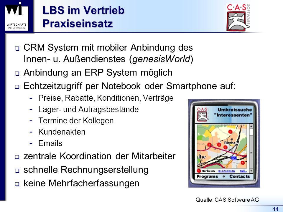 14 WIRTSCHAFTS INFORMATIK LBS im Vertrieb Praxiseinsatz CRM System mit mobiler Anbindung des Innen- u.
