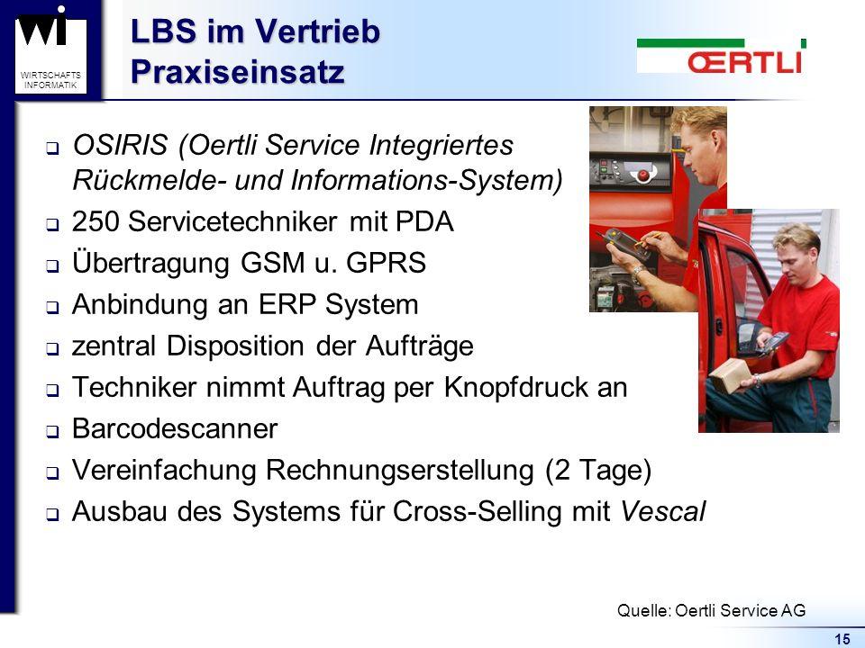 15 WIRTSCHAFTS INFORMATIK OSIRIS (Oertli Service Integriertes Rückmelde- und Informations-System) 250 Servicetechniker mit PDA Übertragung GSM u.