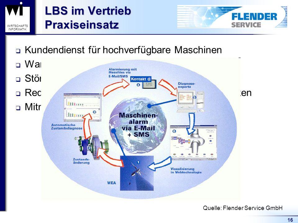 16 WIRTSCHAFTS INFORMATIK LBS im Vertrieb Praxiseinsatz Kundendienst für hochverfügbare Maschinen Wartung gemäß Beanspruchung Störungen lassen sich im Vorfeld erkennen Reduzierung Wartungs-, Reparatur- u.