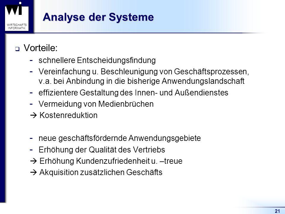 21 WIRTSCHAFTS INFORMATIK Analyse der Systeme Vorteile:  schnellere Entscheidungsfindung  Vereinfachung u.