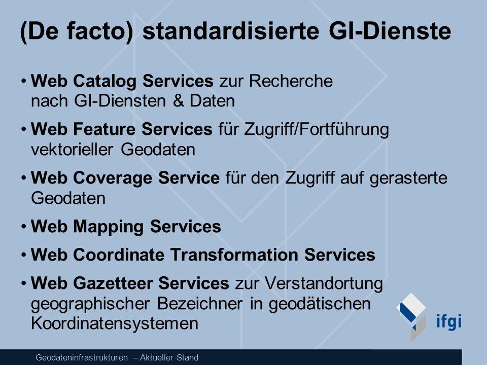 Geodateninfrastrukturen – Aktueller Stand (De facto) standardisierte GI-Dienste Web Catalog Services zur Recherche nach GI-Diensten & Daten Web Featur