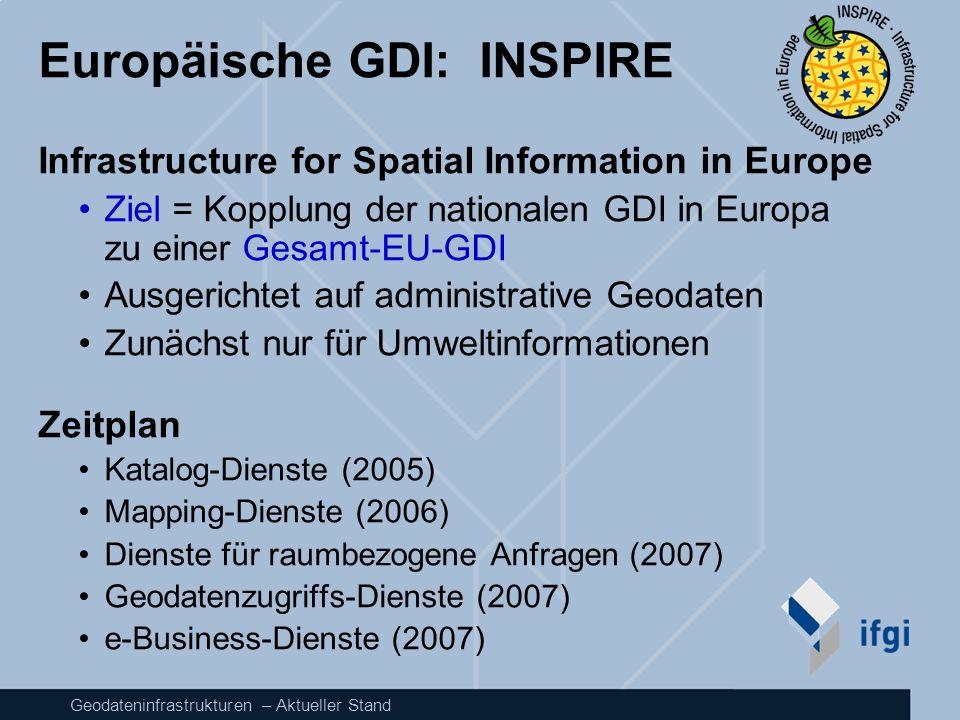 Geodateninfrastrukturen – Aktueller Stand Europäische GDI: INSPIRE Infrastructure for Spatial Information in Europe Ziel = Kopplung der nationalen GDI