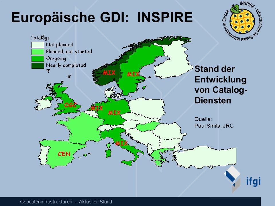 Geodateninfrastrukturen – Aktueller Stand Europäische GDI: INSPIRE Stand der Entwicklung von Catalog- Diensten Quelle: Paul Smits, JRC