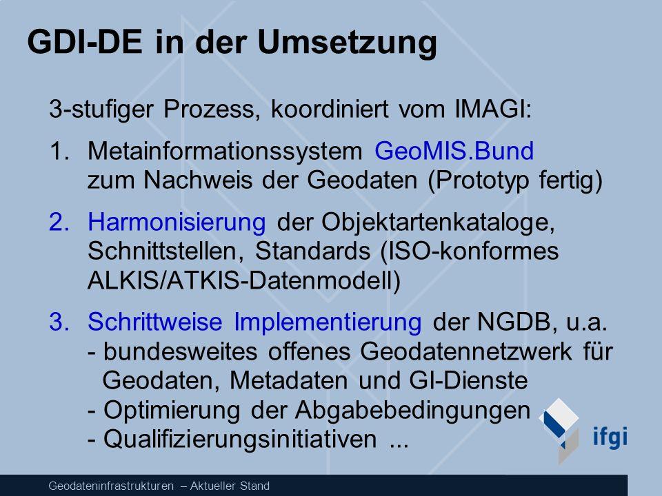 Geodateninfrastrukturen – Aktueller Stand GDI-DE in der Umsetzung 3-stufiger Prozess, koordiniert vom IMAGI: 1.Metainformationssystem GeoMIS.Bund zum