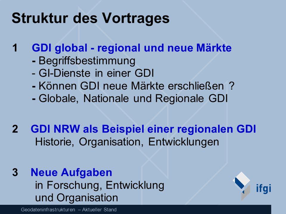 Geodateninfrastrukturen – Aktueller Stand Struktur des Vortrages 1 GDI global - regional und neue Märkte - Begriffsbestimmung - GI-Dienste in einer GD