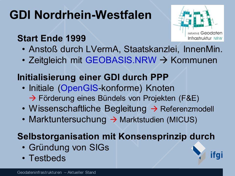 Geodateninfrastrukturen – Aktueller Stand GDI Nordrhein-Westfalen Start Ende 1999 Anstoß durch LVermA, Staatskanzlei, InnenMin. Zeitgleich mit GEOBASI