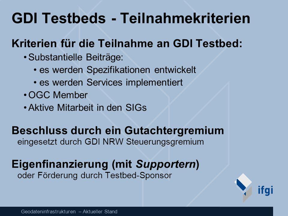 Geodateninfrastrukturen – Aktueller Stand GDI Testbeds - Teilnahmekriterien Kriterien für die Teilnahme an GDI Testbed: Substantielle Beiträge: es wer