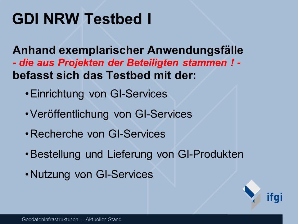 Geodateninfrastrukturen – Aktueller Stand GDI NRW Testbed I Anhand exemplarischer Anwendungsfälle - die aus Projekten der Beteiligten stammen ! - befa