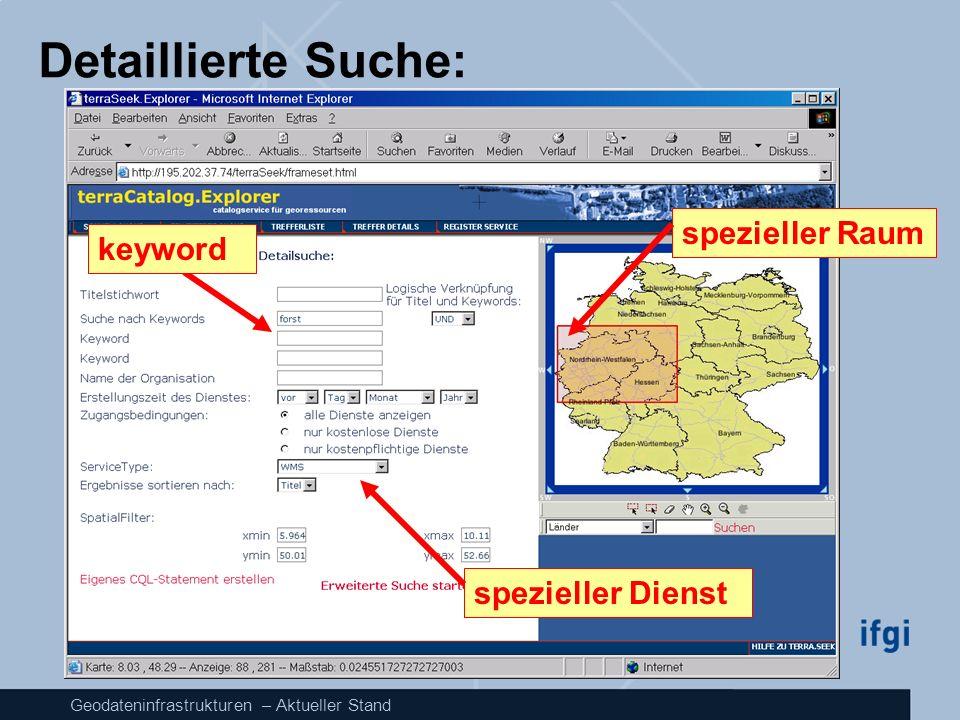 Geodateninfrastrukturen – Aktueller Stand Detaillierte Suche: keyword spezieller Dienst spezieller Raum