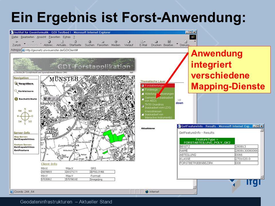Geodateninfrastrukturen – Aktueller Stand Ein Ergebnis ist Forst-Anwendung: Anwendung integriert verschiedene Mapping-Dienste