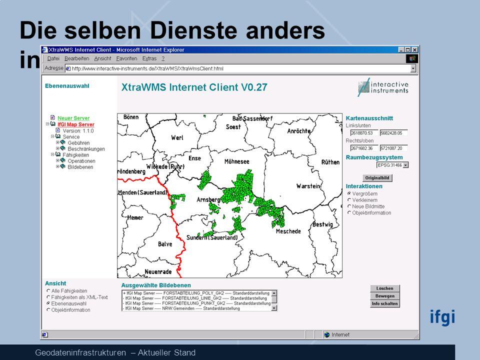 Geodateninfrastrukturen – Aktueller Stand Die selben Dienste anders integriert: