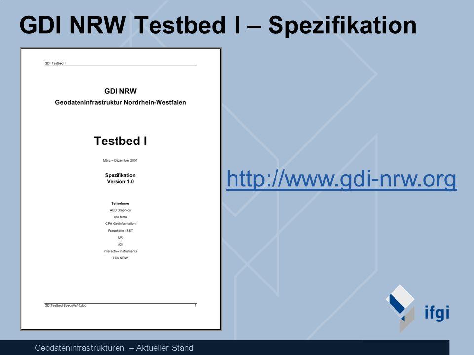 Geodateninfrastrukturen – Aktueller Stand GDI NRW Testbed I – Spezifikation http://www.gdi-nrw.org