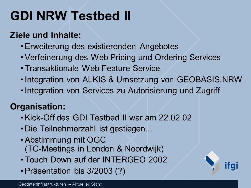 Geodateninfrastrukturen – Aktueller Stand GDI NRW Testbed II Ziele und Inhalte: Erweiterung des existierenden Angebotes Verfeinerung des Web Pricing u