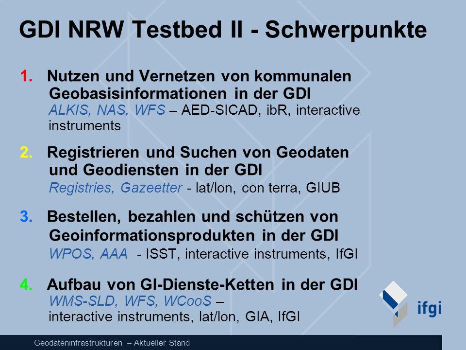 Geodateninfrastrukturen – Aktueller Stand GDI NRW Testbed II - Schwerpunkte 1. Nutzen und Vernetzen von kommunalen Geobasisinformationen in der GDI AL