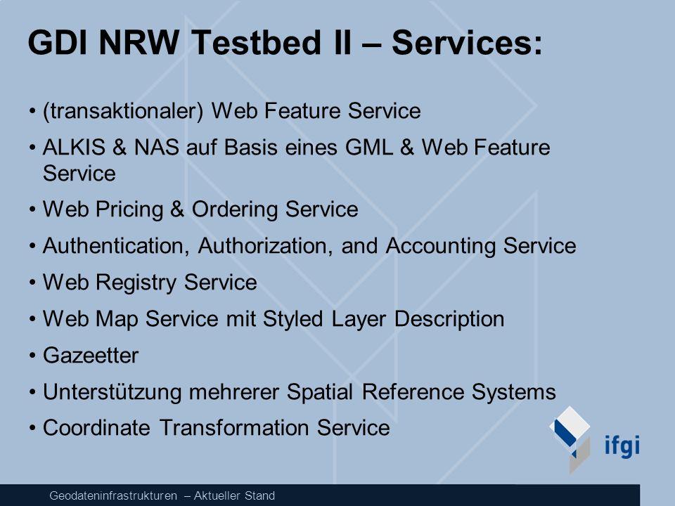Geodateninfrastrukturen – Aktueller Stand GDI NRW Testbed II – Services: (transaktionaler) Web Feature Service ALKIS & NAS auf Basis eines GML & Web F