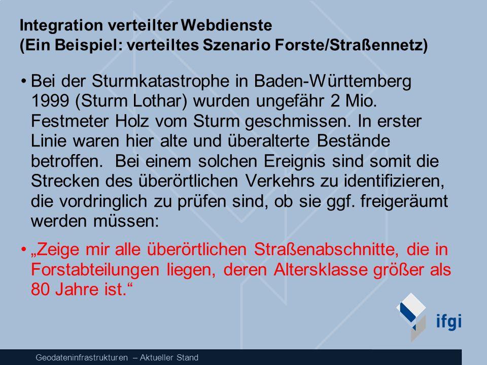 Geodateninfrastrukturen – Aktueller Stand Integration verteilter Webdienste (Ein Beispiel: verteiltes Szenario Forste/Straßennetz) Bei der Sturmkatast