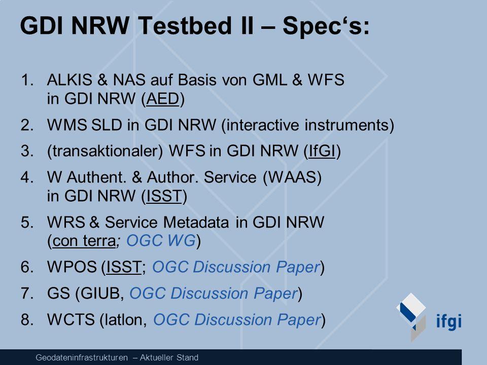 Geodateninfrastrukturen – Aktueller Stand GDI NRW Testbed II – Specs: 1.ALKIS & NAS auf Basis von GML & WFS in GDI NRW (AED) 2.WMS SLD in GDI NRW (int