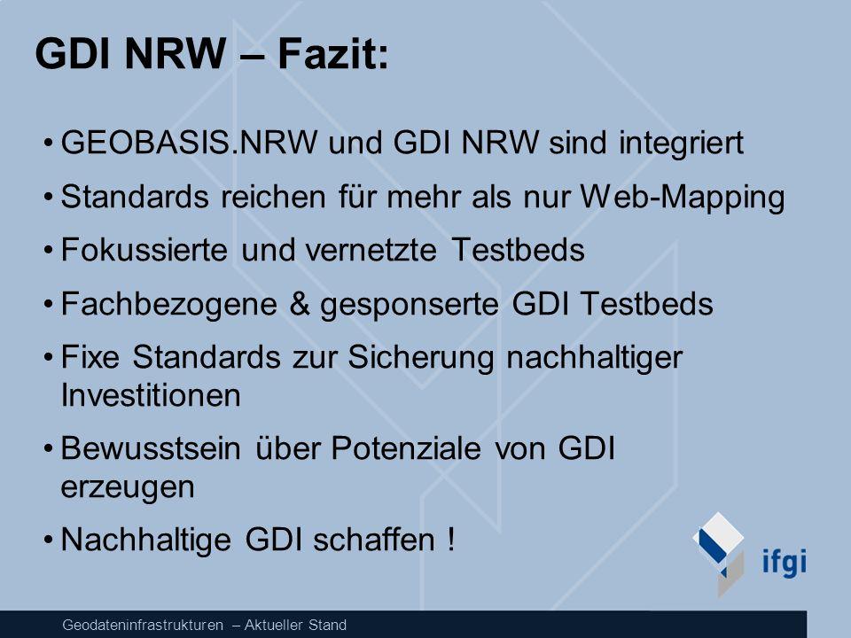 Geodateninfrastrukturen – Aktueller Stand GDI NRW – Fazit: GEOBASIS.NRW und GDI NRW sind integriert Standards reichen für mehr als nur Web-Mapping Fok
