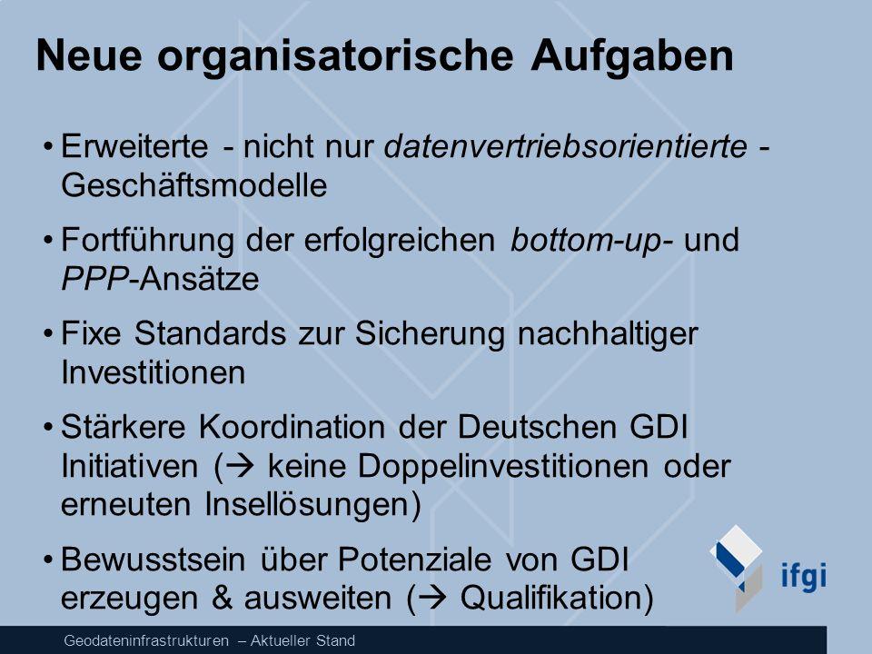 Geodateninfrastrukturen – Aktueller Stand Neue organisatorische Aufgaben Erweiterte - nicht nur datenvertriebsorientierte - Geschäftsmodelle Fortführu