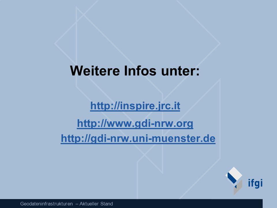 Geodateninfrastrukturen – Aktueller Stand Weitere Infos unter: http://inspire.jrc.it http://www.gdi-nrw.org http://gdi-nrw.uni-muenster.de