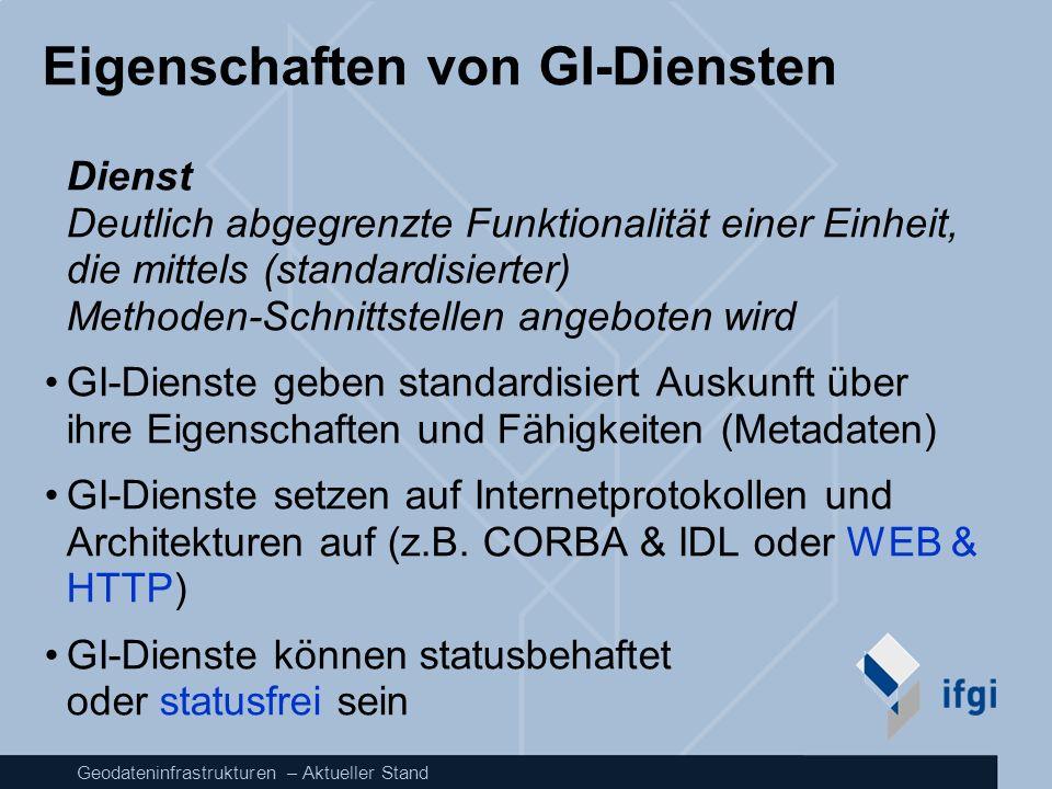 Geodateninfrastrukturen – Aktueller Stand Eigenschaften von GI-Diensten Dienst Deutlich abgegrenzte Funktionalität einer Einheit, die mittels (standar