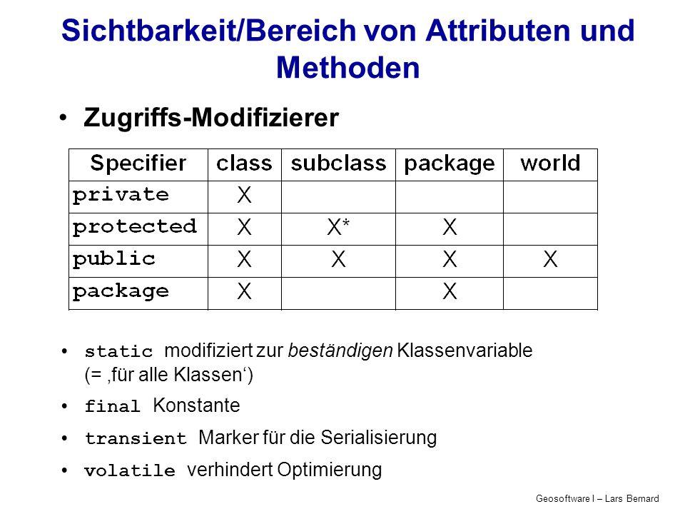 Geosoftware I – Lars Bernard Kontrollstrukturen für den Programmfluss Bedingungen if (Bedingung) { //Bedingung ist wahr Anweisungen; } else { //Bedingung ist nicht wahr Anweisungen; }