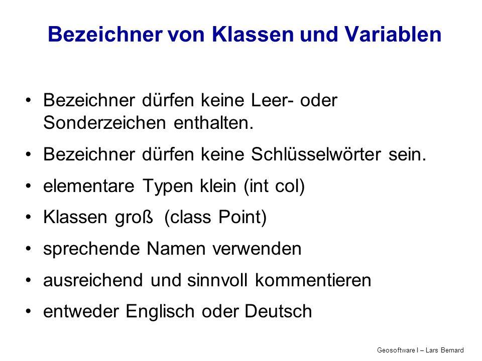 Geosoftware I – Lars Bernard Bedingungen: Java-Beispiel boolean regen_in_muenster; if (regen_in_muenster == false) { System.out.println(Heute regnet es mal nicht!); } else { System.out.println(Heute regnet es mal wieder!); }