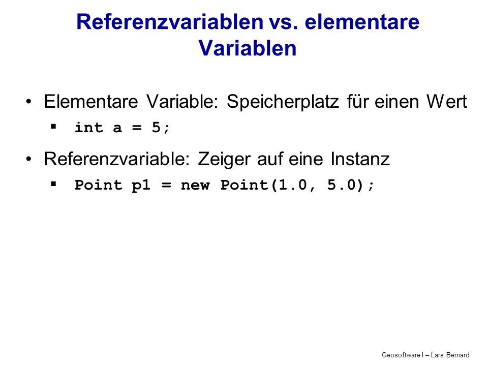 Geosoftware I – Lars Bernard Arrays Arrays für elementare Datentypen int[] manyInts = new int[10]; manyInts[0] = 0; manyInts[9] = 9; int l = manyInts.length; // => l = 10; Arrays für Klasseninstanzen Point[] points = new Point[4]; points[0].output();// => run time error points[0] = new Point(0.0, 0.0); points[0].output();// => ok
