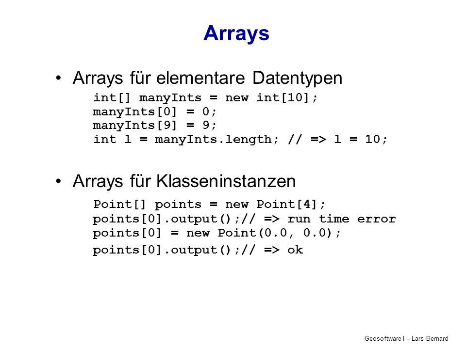 Geosoftware I – Lars Bernard Schleifentyp I: for Zweck: dieselbe Anweisung mehrmals durchführen Es wird eine Laufvariable verändert: int i; for (i = 1; i <= 100; i++) { System.out.println( Wert von i + i + \n ); } Ausgabe: Zahlen von 1 bis 100 Schleifenkopf
