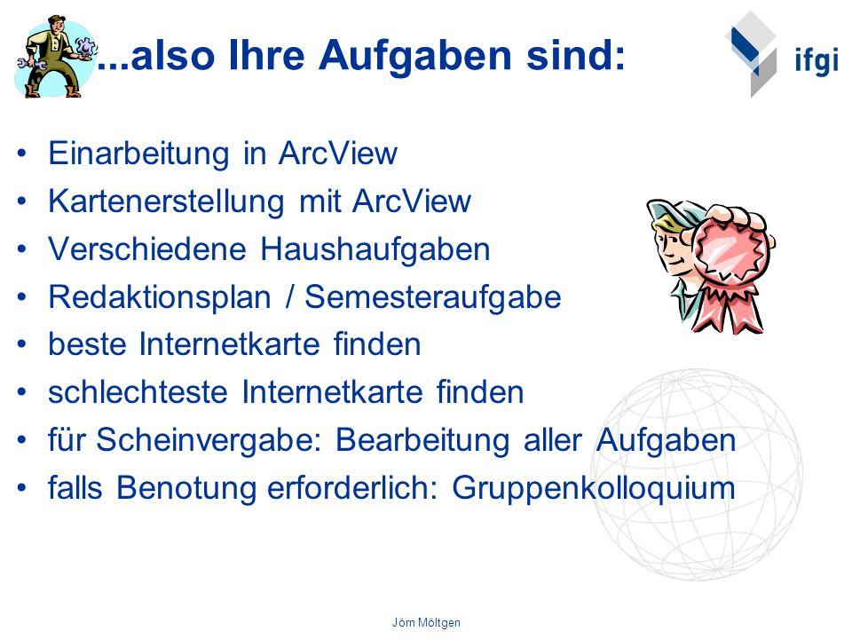 Jörn Möltgen...also Ihre Aufgaben sind: Einarbeitung in ArcView Kartenerstellung mit ArcView Verschiedene Haushaufgaben Redaktionsplan / Semesteraufga