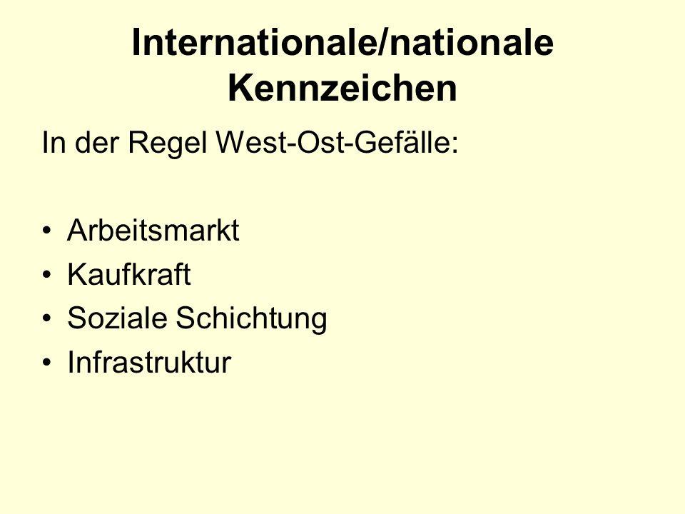Internationale/nationale Kennzeichen In der Regel West-Ost-Gefälle: Arbeitsmarkt Kaufkraft Soziale Schichtung Infrastruktur