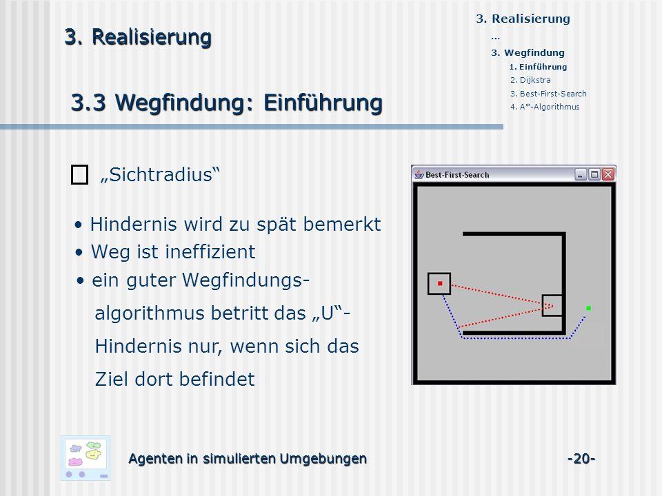 3.3 Wegfindung: Einführung Agenten in simulierten Umgebungen -20- 3. Realisierung Sichtradius Hindernis wird zu spät bemerkt Weg ist ineffizient ein g