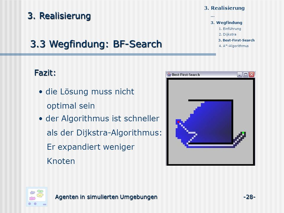 3.3 Wegfindung: BF-Search Agenten in simulierten Umgebungen -28- 3. Realisierung Fazit: die Lösung muss nicht optimal sein der Algorithmus ist schnell