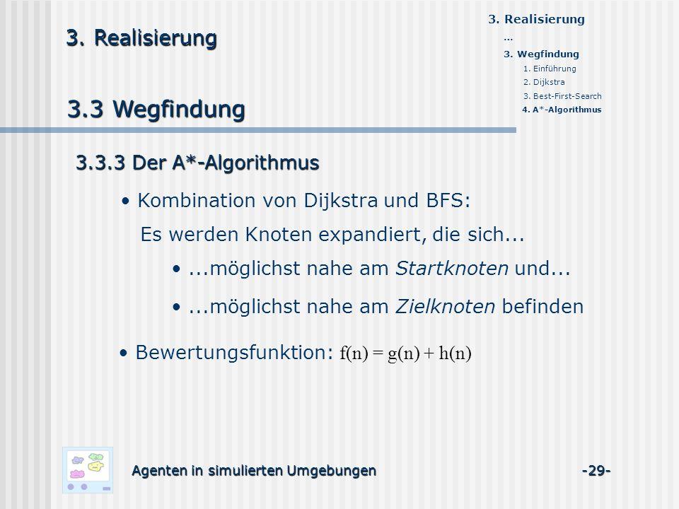 3.3 Wegfindung Agenten in simulierten Umgebungen -29- 3. Realisierung 3.3.3 Der A*-Algorithmus Kombination von Dijkstra und BFS: Es werden Knoten expa