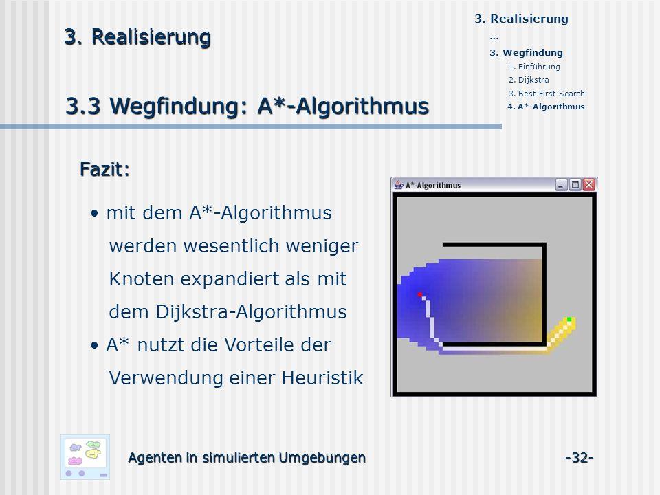 3.3 Wegfindung: A*-Algorithmus Agenten in simulierten Umgebungen -32- 3.