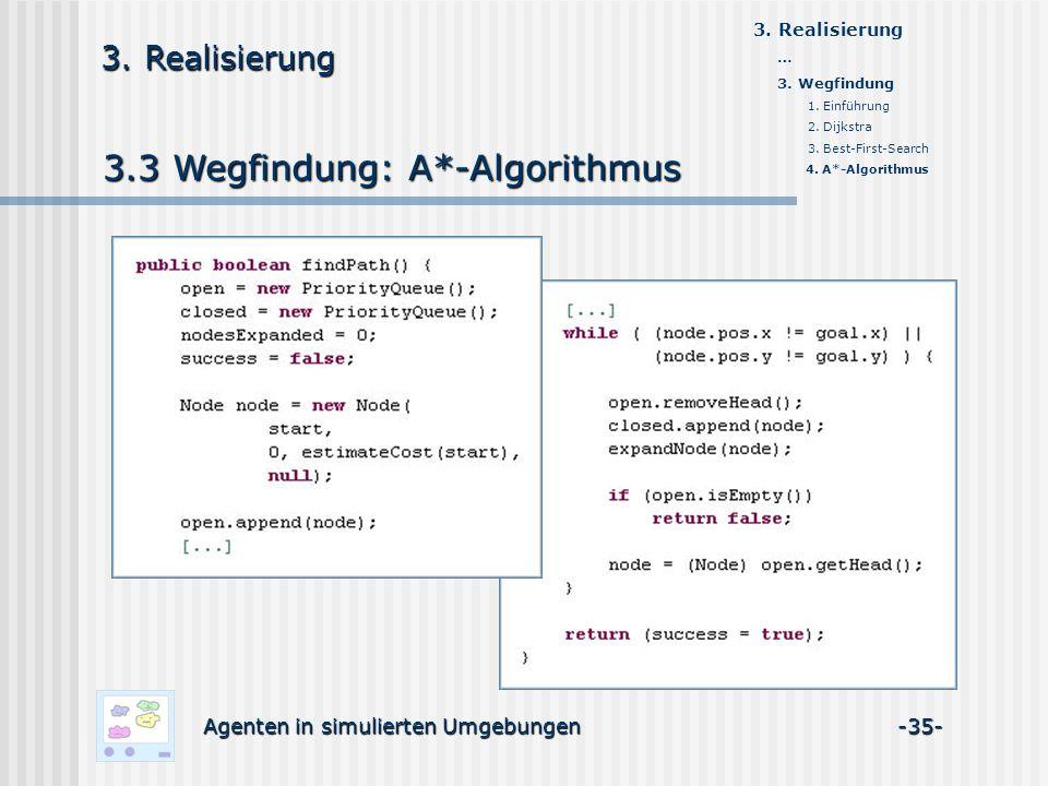3.3 Wegfindung: A*-Algorithmus Agenten in simulierten Umgebungen -35- 3. Realisierung … 3. Wegfindung 1. Einführung 2. Dijkstra 3. Best-First-Search 4