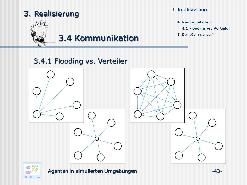 3.4 Kommunikation 3.4 Kommunikation Agenten in simulierten Umgebungen -43- 3. Realisierung 3.4.1 Flooding vs. Verteiler 3. Realisierung … 4. Kommunika
